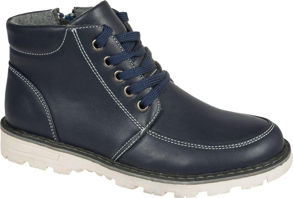 Ботинки для мальчика Mursu, цвет: темно-синий. 202262. Размер 31202262Стильные ботинки от Mursu придутся по душе вашему юному моднику. Модель выполнена из искусственной кожи. Классическая шнуровка надежно зафиксирует ботинки на ноге. Подкладка и стелька из шерсти гарантируют тепло и комфорт при носке. Гибкая мягкая подошва обеспечивает идеальное сцепление с разными поверхностями.