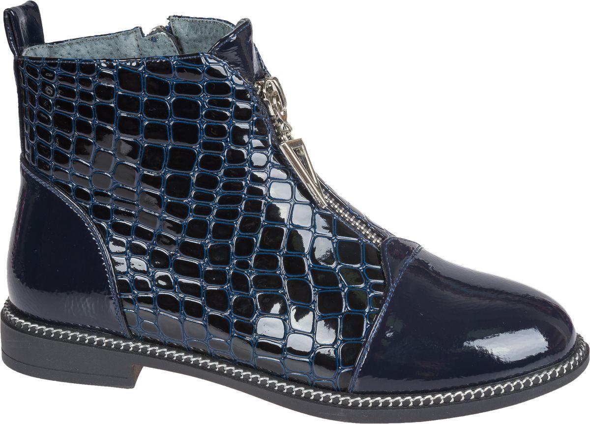 Ботинки для девочки Mursu, цвет: темно-синий. 202270. Размер 34202270Стильные ботинки от Mursu придутся по душе вашей юной моднице. Модель выполнена из искусственной лаковой кожи с гладкой и фактурной поверхностями. Молния, расположенная сбоку, надежно зафиксирует ботинки на ноге. Подкладка и стелька из шерсти гарантируют тепло и комфорт при носке. Гибкая мягкая подошва обеспечивает идеальное сцепление с разными поверхностями. На подъеме модель оформлена декоративной молнией.