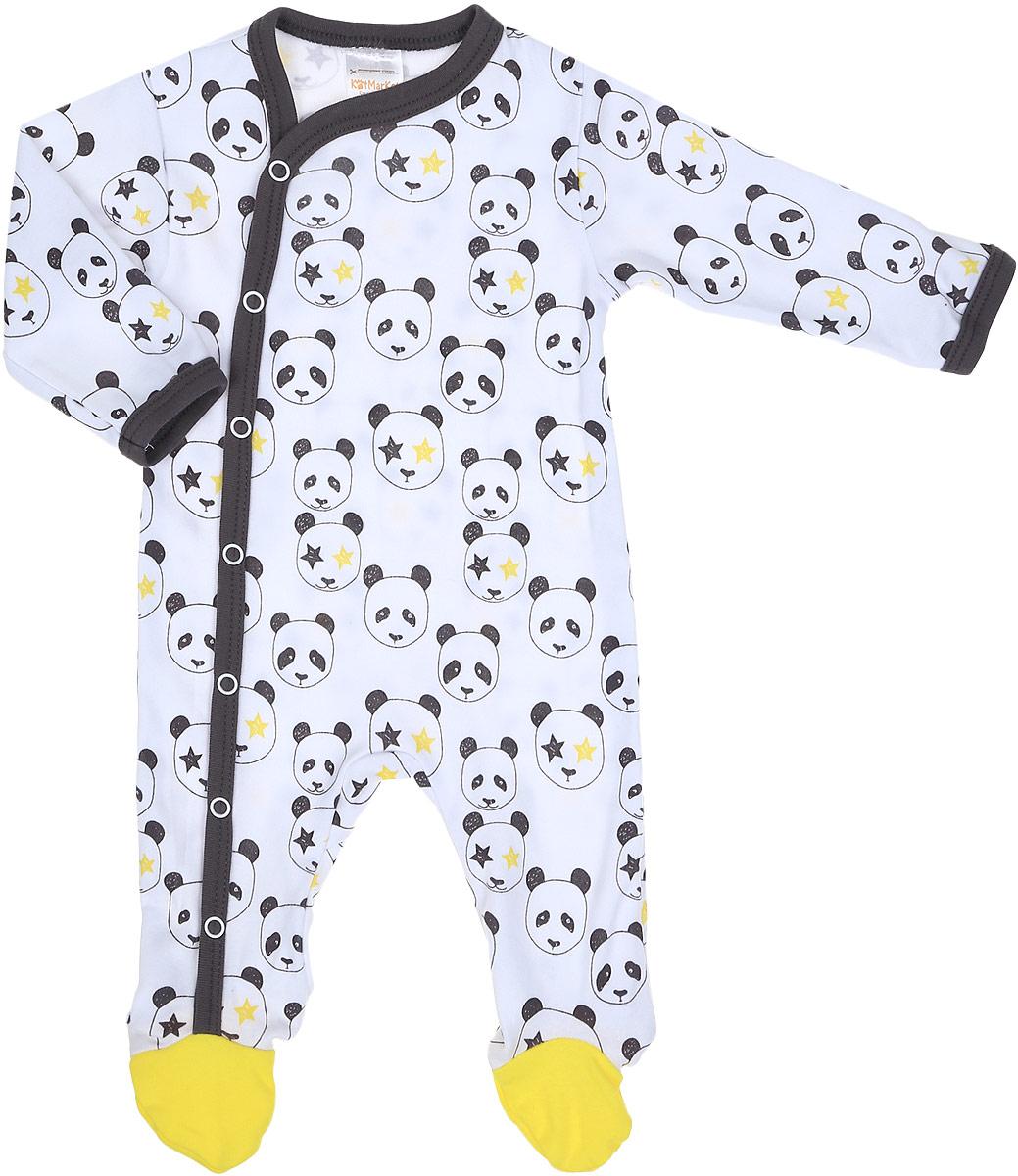 Комбинезон домашний детский КотМарКот Панда Rock, цвет: светло-бежевый, желтый. 6326. Размер 86