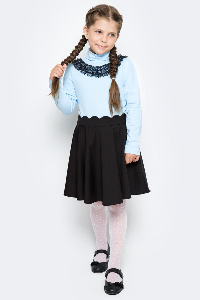 Водолазка для девочки LeadGen, цвет: голубой. G935009101-172. Размер 176G935009101-172Водолазка LeadGen изготовлена из качественного материала на основе хлопка. Модель выполнена с высоким воротничком и длинными рукавами. На груди модель оформлена кружевами контрастного цвета.
