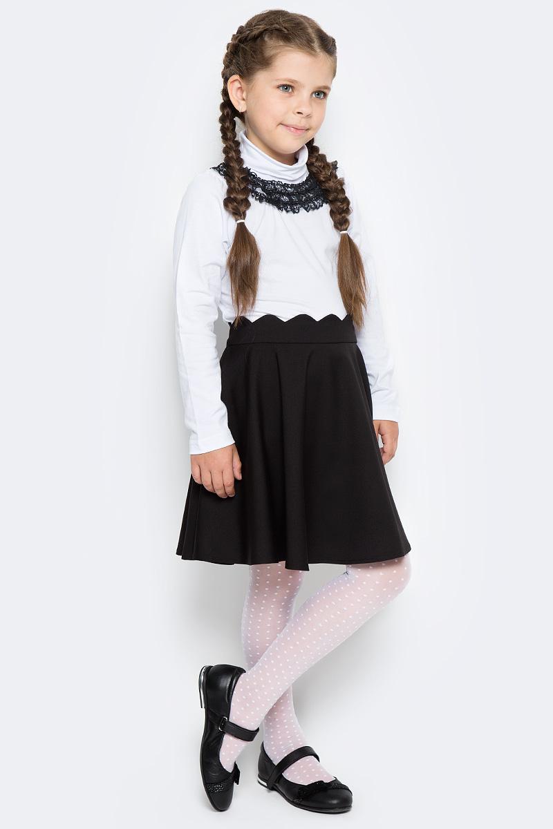 Водолазка для девочки LeadGen, цвет: белый. G935009014-172. Размер 134G935009014-172Водолазка LeadGen изготовлена из качественного материала на основе хлопка. Модель выполнена с высоким воротничком и длинными рукавами. На груди модель оформлена кружевами контрастного цвета.
