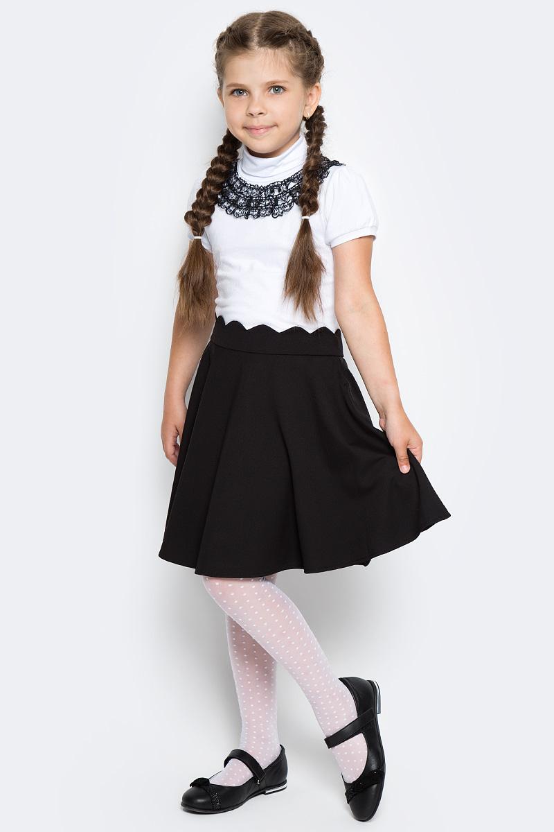 Водолазка для девочки LeadGen, цвет: белый. G970009514-172. Размер 140G970009514-172Водолазка LeadGen изготовлена из качественного материала на основе хлопка. Модель выполнена с высоким воротничком и короткими рукавами. На груди модель оформлена кружевами контрастного цвета.
