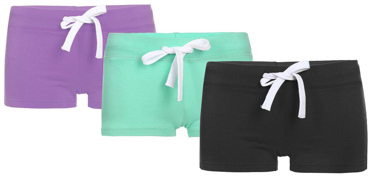 Шорты женские oodji Ultra, цвет: черный, сиреневый, бирюзовый, 3 шт. 17001029T3/46155/19B6N. Размер XXS (40)17001029T3/46155/19B6NУдобные женские шорты oodji Ultra изготовлены из натурального хлопка.Шорты стандартной посадки имеют эластичный пояс на талии, дополненный шнурком.
