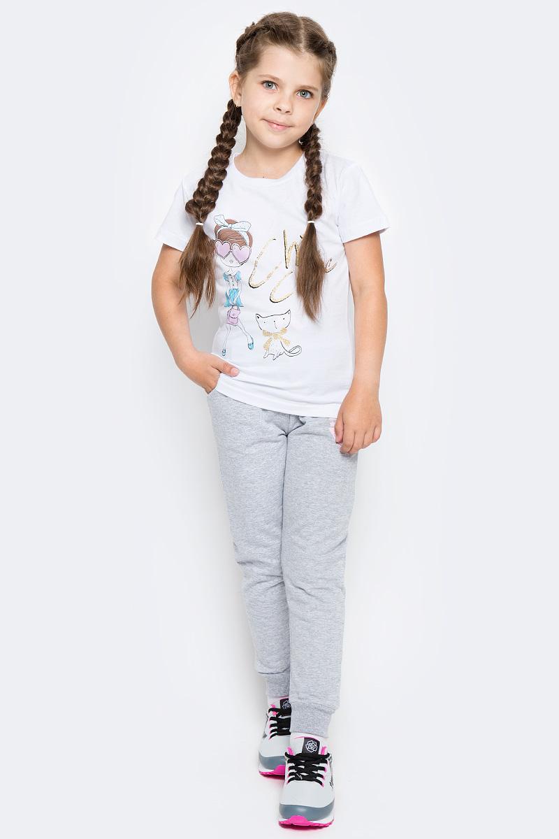 Футболка для девочки LeadGen, цвет: белый. G613047114-171. Размер 104G613047114-171Футболка для девочки LeadGen выполнена из натурального хлопкового трикотажа. Модель с короткими рукавами и круглым вырезом горловины спереди оформлена принтом.