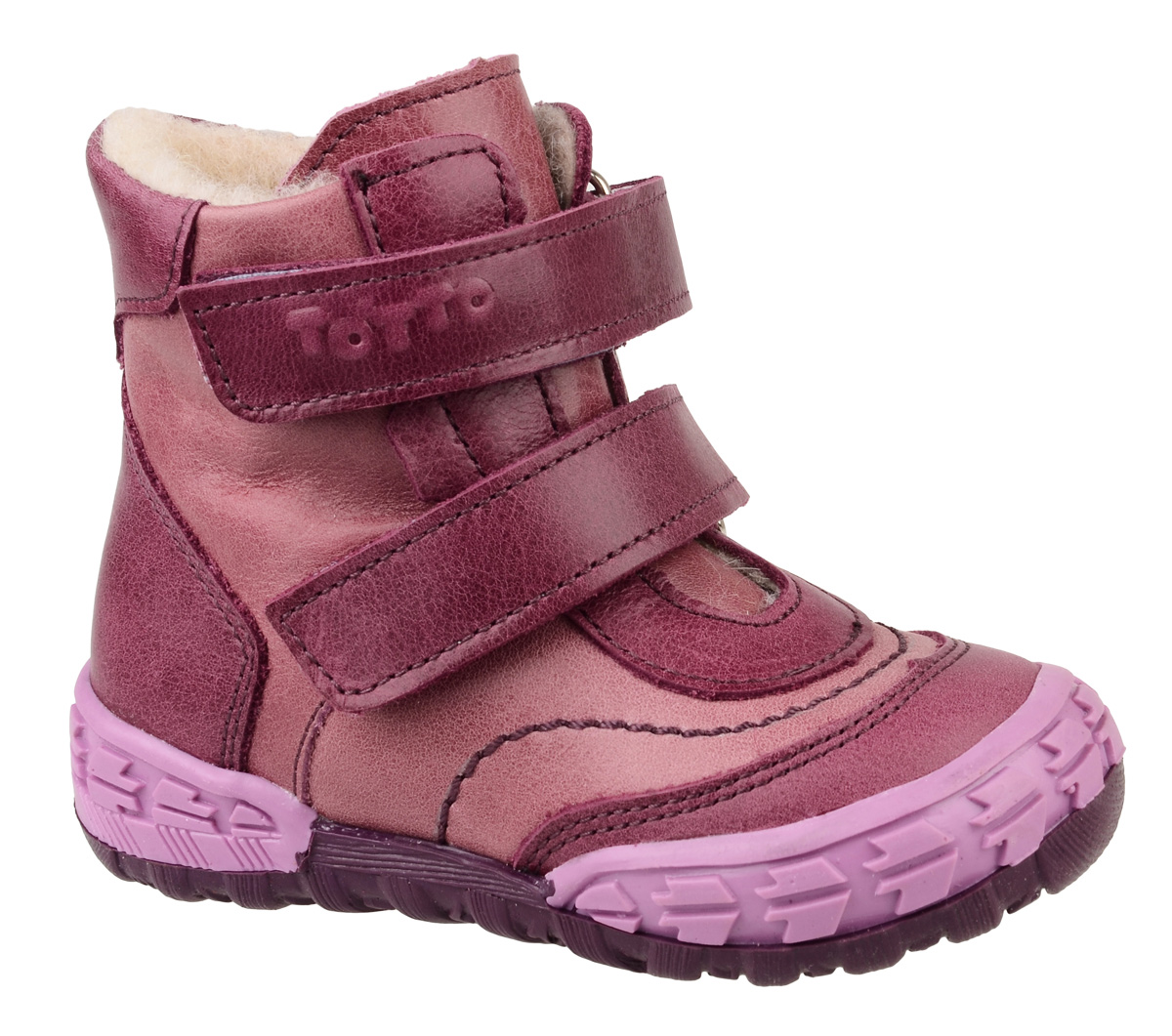 Ботинки для девочки Тотто, цвет: бордовый, сиреневый. 133-БП. Размер 23133-БПБотинки для девочки Тотто - это ортопедическая обувь, которая помогает правильному формированию стопы ребенка. Такая обувь необходима в детском возрасте для коррекции стоп при плоскостопии и вальгусной деформации, а также для профилактики этих состояний. Она обеспечивает правильное распределение нагрузки на передний отдел стопы и пятку, за счет чего малыш лучше удерживает равновесие и чувствует себя более уверенно. Обувь Тотто идеально подходит для детей, которые только начали ходить.Верх ботинок выполнен из натуральной кожи. Подошва изготовлена из легкого, гибкого и прочного термопластичного материала, она смягчает удары от соприкосновения обуви с поверхностью, защищая детскую ножку от травм. Протектор подошвы обеспечивает надежное сцепление с землей или асфальтом. Внутренняя поверхность отделана байкой. Ботинки застегиваются с помощью ремешков на липучки, благодаря которым можно регулировать объем обуви. Весь модельный ряд Тотто характеризует: плотный захват голеностопа, мягкие нейтрализующие швы, жесткий задник продлен до середины стопы, стельки со сводоподдерживающим эффектом, натуральная кожа.