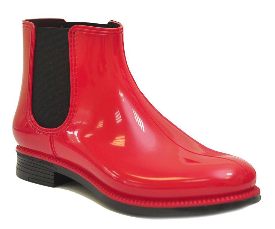 Резиновые сапоги женские Nordman, цвет: красный. ПС 25. Размер 40ПС 25Женские резиновые сапоги Nordman выполнены из глянцевого водонепроницаемого материала. Модель укороченной длины дополнена эластичной боковой вставкой для удобного обувания.