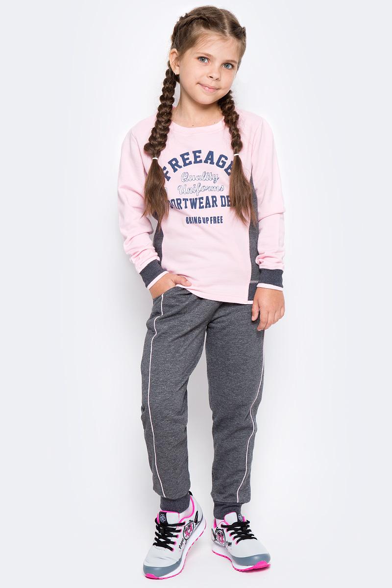 Свитшот для девочки Free Age, цвет: розовый, серый меланж. ZG 09302-DMP-2. Размер 146, 10 летZG 09302-DMP-2Свитшот для девочки Free Age изготовлен из высококачественного легкого хлопка, он приятный на ощупь, не раздражает нежную и чувствительную кожу ребенка, позволяя ей дышать. Модель имеет круглый вырез горловины, не стесняет движения. Изделие дополнено контрастным принтом в стиле Free Age.