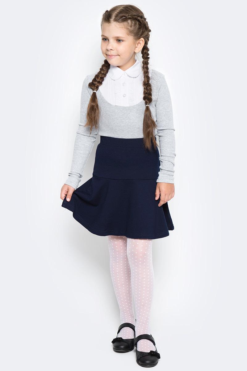 Блузка для девочки Free Age, цвет: белый, серый меланж. ZG 28087-MW2. Размер 134, 8 летZG 28087-MW2Блузка для девочки Free Age с длинным рукавом выглядит повседневно и нарядно. Изготовлена из двух полотен: трикотаж и поплин. Спереди кокетка блузки украшена застроченными складками и декоративными рюшами. Застегивается спереди на планку с пуговицами.