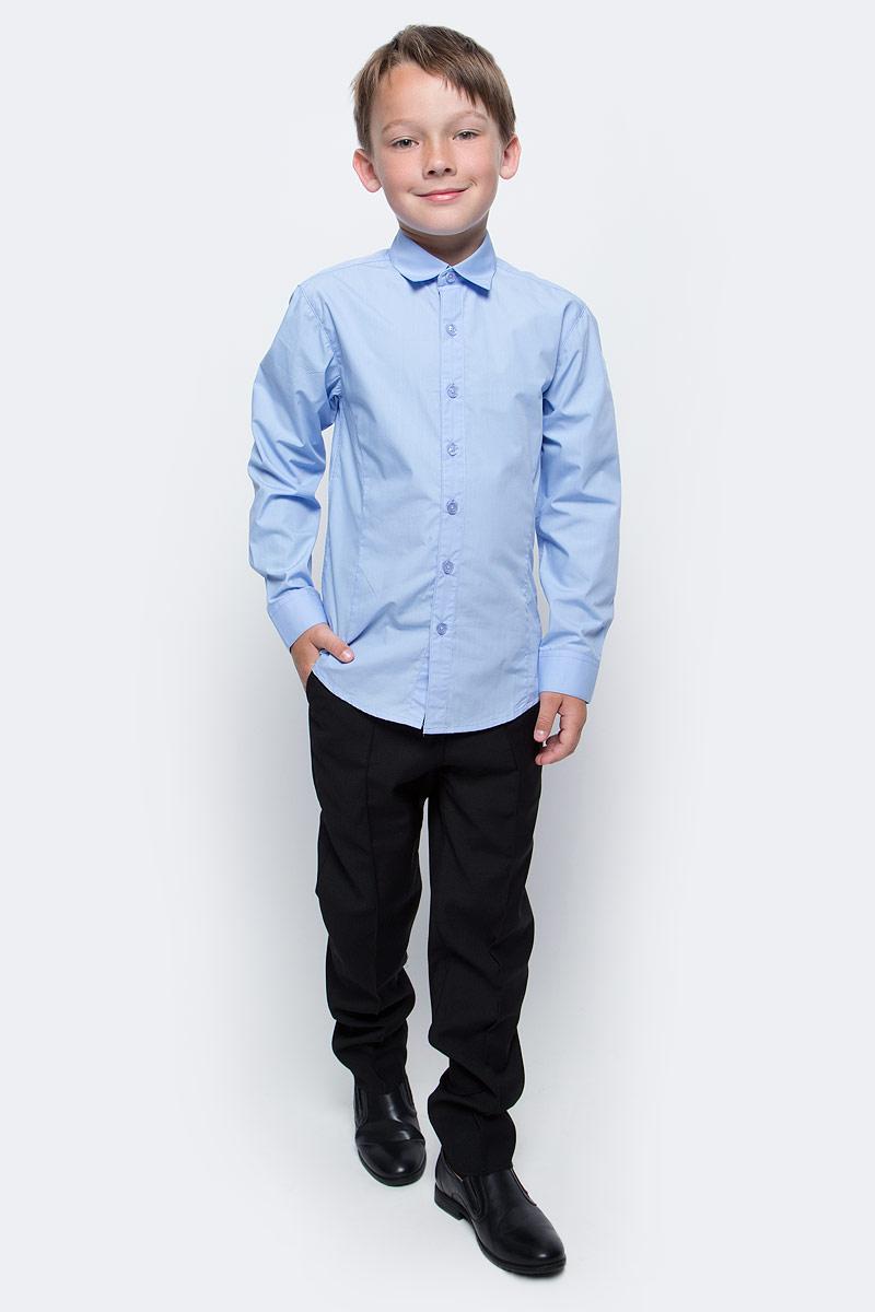 Рубашка для мальчика Vitacci, цвет: голубой. 1173020-10. Размер 1401173020-10/1173020М-10Рубашка для мальчика выполнена из хлопка и полиэстера. Модель с длинными рукавами застегивается на пуговицы.