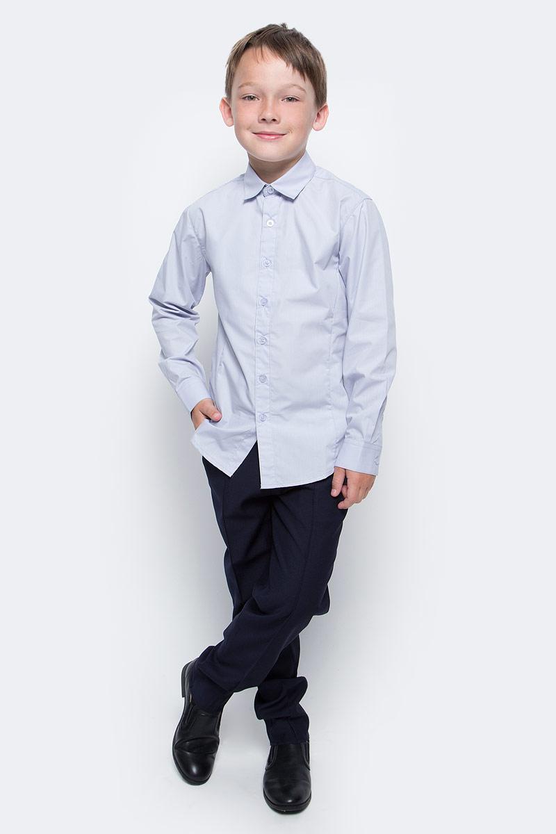 Рубашка для мальчика Vitacci, цвет: серый. 1173020-02. Размер 1281173020-02/1173020М-02Рубашка для мальчика выполнена из хлопка и полиэстера. Модель с длинными рукавами застегивается на пуговицы.