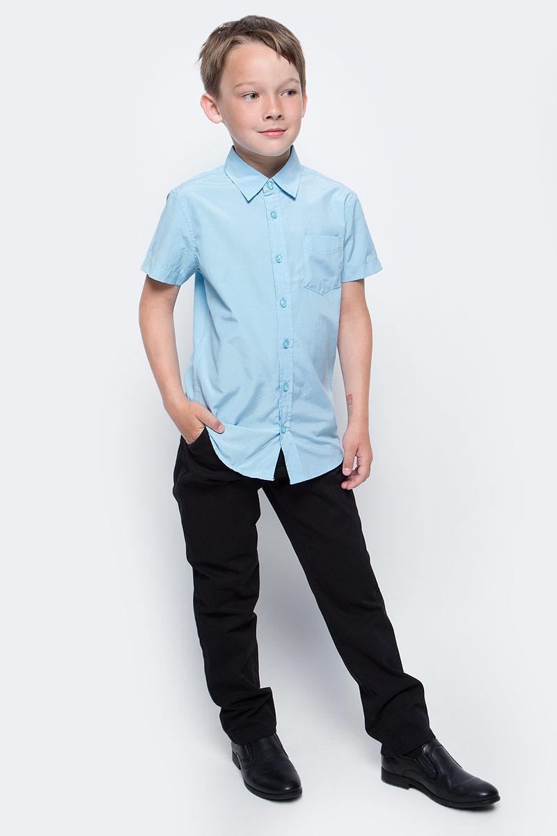 Рубашка для мальчика Sela, цвет: голубой. Hs-812/207-7310. Размер 152, 12 летHs-812/207-7310Рубашка для мальчика Sela выполнена из высококачественного материала. Модель с отложным воротником и короткими рукавами застегивается на пуговицы. На груди рубашка дополнена накладным карманом на пуговице.