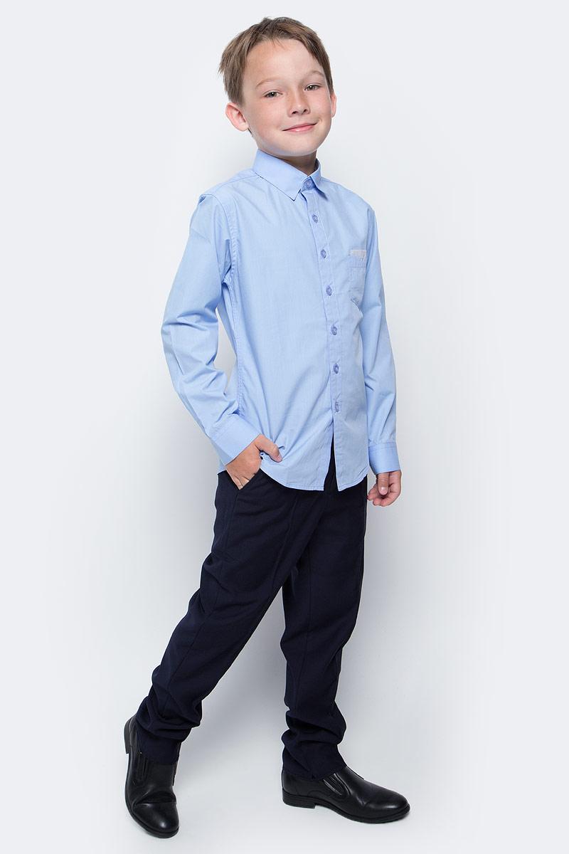 Рубашка для мальчика Vitacci, цвет: голубой. 1173016М-10. Размер 1641173016-10/1173016М-10Рубашка для мальчика выполнена из хлопка и спандекса. Модель с отложным воротником и длинными рукавами.