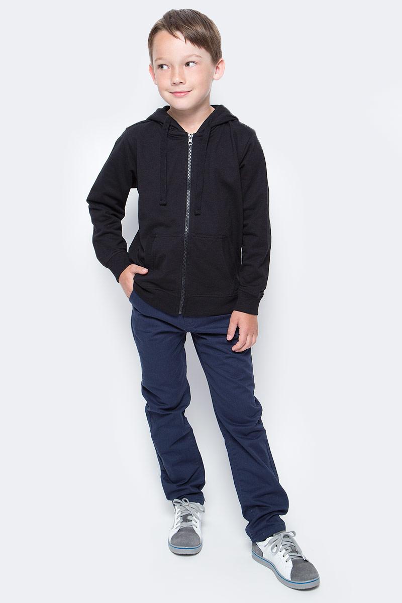 Толстовка для мальчика Sela, цвет: черный. Stc-813/178-7340. Размер 128Stc-813/178-7340Классическая толстовка для мальчика Sela станет отличным дополнением к гардеробу юного непоседы. Модель прямого кроя с длинными рукавами с капюшоном на шнурках застегивается на пластиковую молнию и дополнена двумя накладными карманами. Манжеты рукавов и низ изделия связаны резинкой. Толстовка подойдет для прогулок и дружеских встреч и будет отлично сочетаться с джинсами и брюками. Мягкая ткань на основе вискозы, хлопка и полиэстера приятна на ощупь и комфортна в носке.
