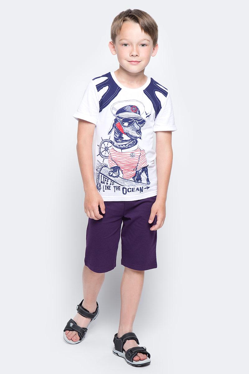 Шорты для мальчика LeadGen, цвет: баклажановый. B512017411-171. Размер 122B512017411-171Шорты для мальчика LeadGen изготовлены из натурального хлопка. Модель длиной выше колен затягивается на широкий шнурок на талии. Изделие дополнено сзади накладными карманами.