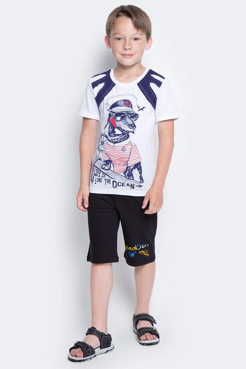 Шорты для мальчика LeadGen, цвет: черный. B612046402-171. Размер 146B612046402-171Шорты для мальчика LeadGen выполнены из хлопкового трикотажа. Модель стандартной посадки с карманами на талии дополнена эластичной резинки со шнурком.
