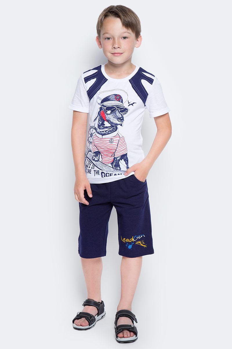 Футболка для мальчика LeadGen, цвет: белый. B213061114-171. Размер 104B213061114-171Футболка для мальчика LeadGen выполнена из натурального хлопкового трикотажа. Модель с короткими рукавами и круглым вырезом горловины спереди оформлена принтом.