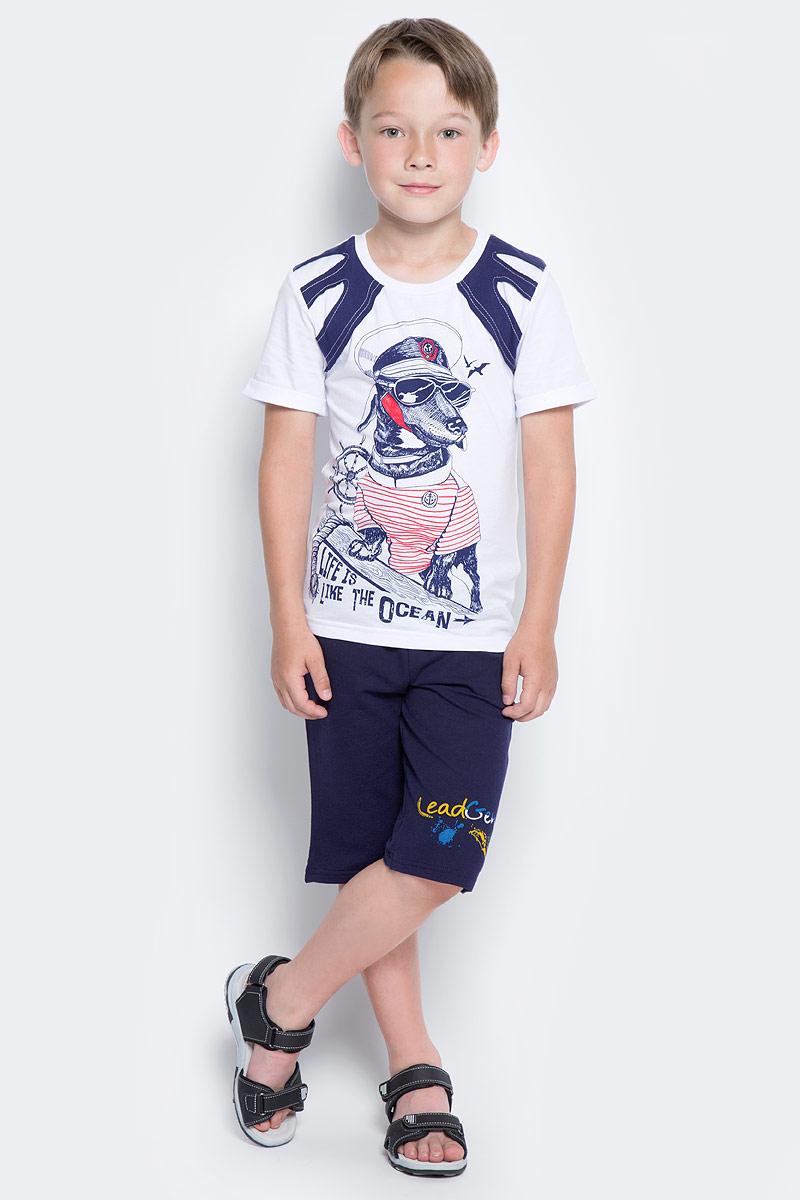 Шорты для мальчика LeadGen, цвет: темно-синий. B612046503-171. Размер 128B612046503-171Шорты для мальчика LeadGen выполнены из хлопкового трикотажа. Модель стандартной посадки с карманами на талии дополнена эластичной резинки со шнурком.