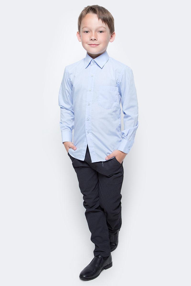 Рубашка для мальчика Nota Bene, цвет: голубой. TC27DPRB10. Размер 158TC27DPRA10/TC27DPRB10Рубашка для мальчика Nota Bene приталенного силуэта выполнена из высококачественного хлопкового материала. Модель с классическим отложным воротником и длинными рукавами застегивается на пуговицы, на груди дополнена накладным карманом