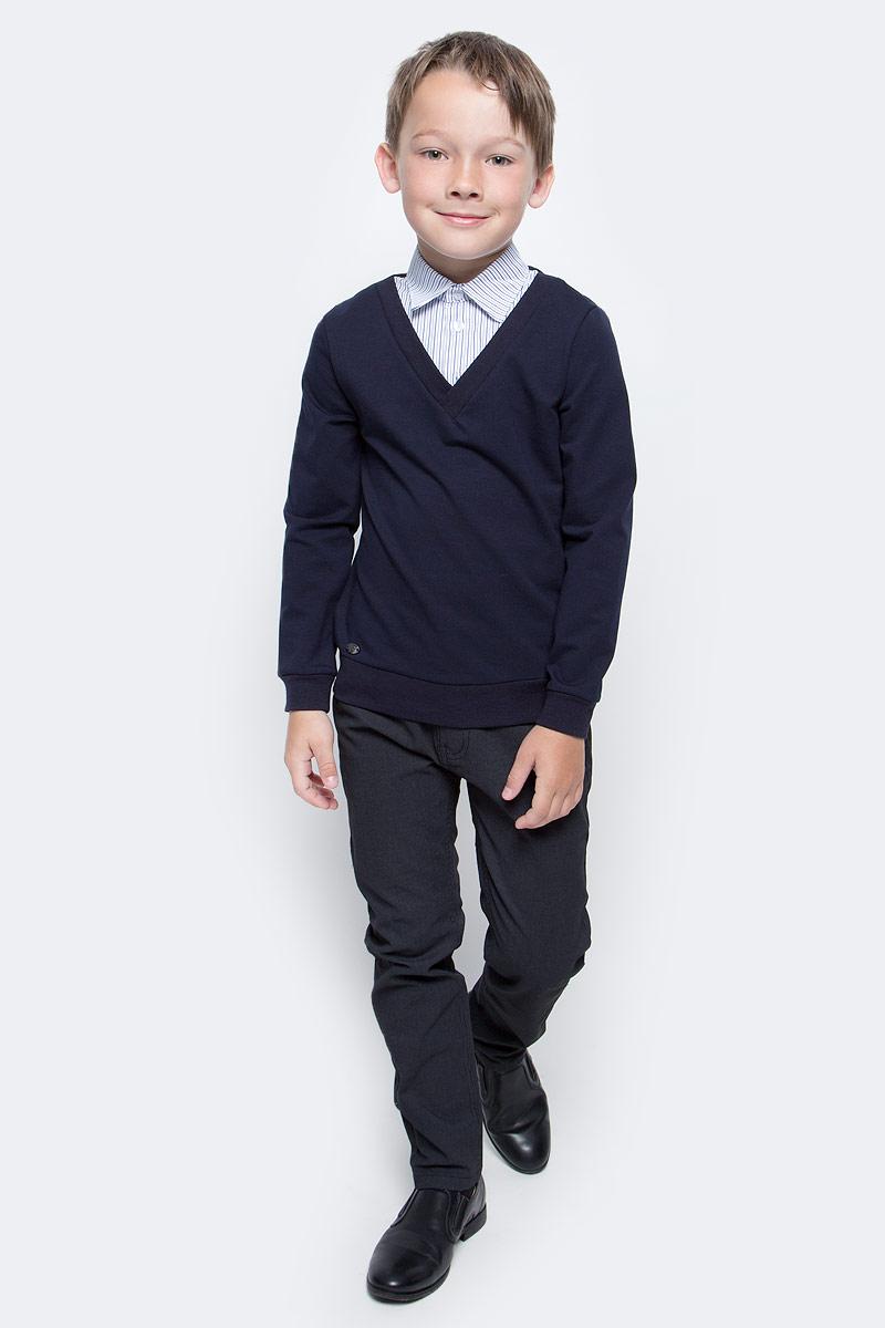Джемпер для мальчика Nota Bene, цвет: темно-синий. CJK17016A29. Размер 128CJK17016A29/CJK17016B29Джемпер для мальчика Nota Bene выполнен из хлопкового трикотажа. Модель 2-в-1 с длинными рукавами дополнена вставкой, имитирующей рубашку.