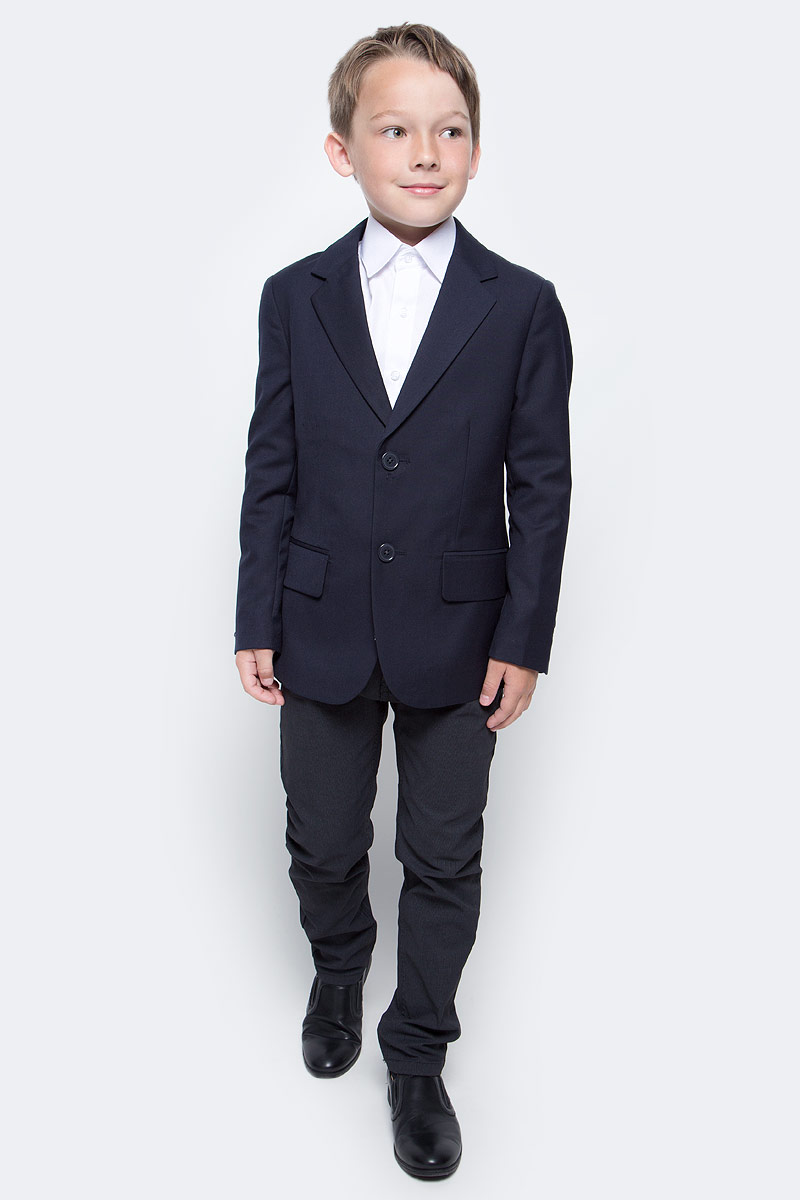 Пиджак для мальчика Scool, цвет: темно-синий. 373424. Размер 122, 7 лет373424Однобортный пиджак Scool подойдет как для официальных мероприятий, так и в качестве одной из базовых вещей школьного гардероба. Лекало модели полностью повторяет лекало пиджака для взрослого мужчины. Пиджак изготовлен из полиэстера и вискозы. Подкладка выполнена из атласной ткани.Пиджак с отложным воротником с лацканами застегивается на пуговицы. Спереди пиджак дополнен двумя прорезными карманами с клапанами. При необходимости пиджак можно повесить на крючок - на модели предусмотрена петля-вешалка.