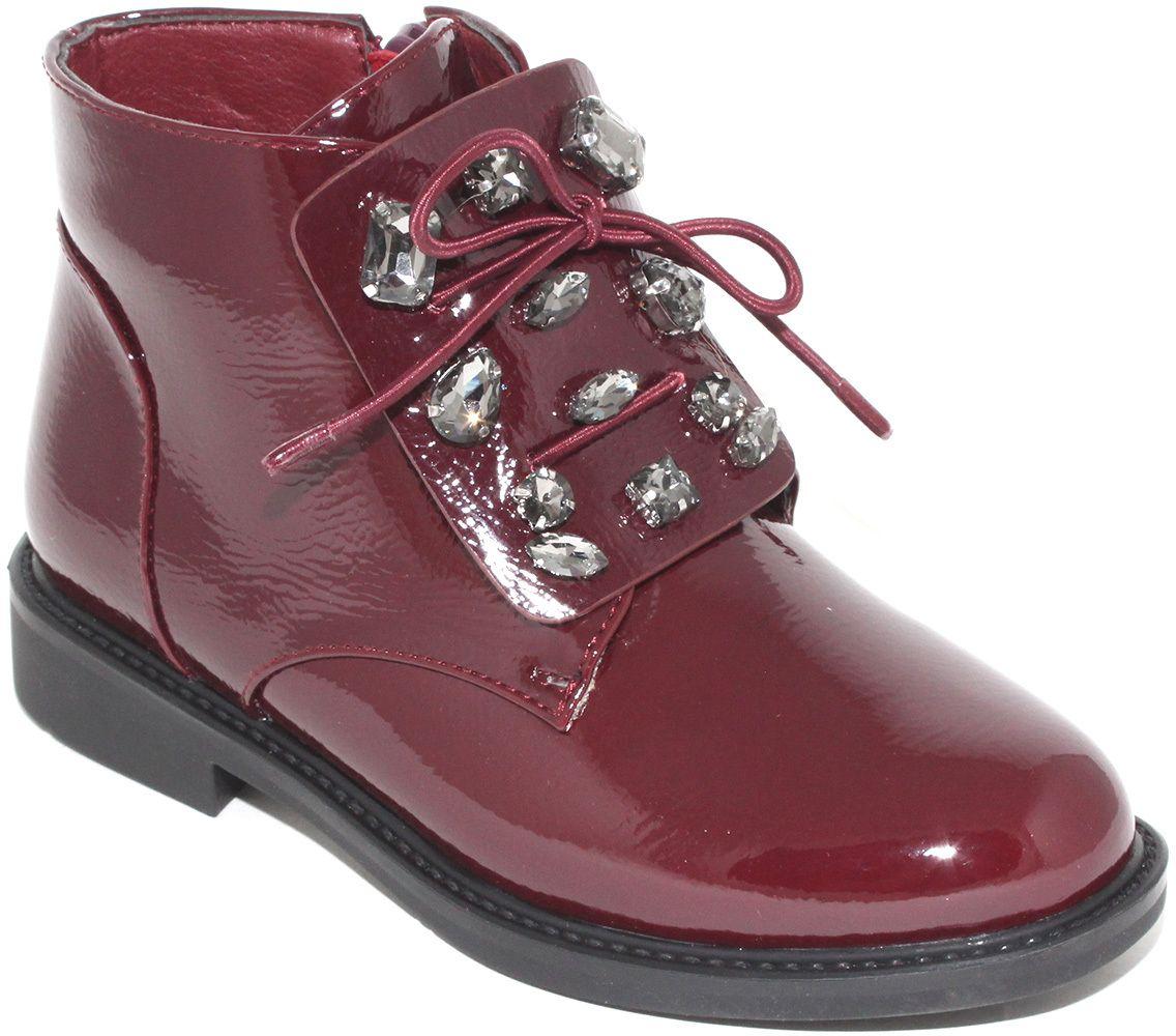 Ботинки для девочки Капитошка, цвет: бордовый. F7869. Размер 29F7869Потрясающие ботинки от Капитошка приведут в восторг вашу юную модницу! Модель выполнена из искусственной лакированной кожи. Подъем ботинок оформлен декоративными камнями в металлической оправе. Ботинки застегиваются на застежку-молнию, расположенную на боковой стороне. Подкладка и стелька из текстиля комфортны при ходьбе. Удобные и модные ботинки - необходимая вещь в гардеробе каждого ребенка.