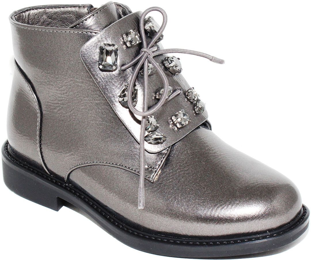 Ботинки для девочки Капитошка, цвет: серебристый. F7868. Размер 29F7868Потрясающие ботинки от Капитошка приведут в восторг вашу юную модницу! Модель выполнена из искусственной кожи. Подъем ботинок оформлен декоративными камнями в металлической оправе. Ботинки застегиваются на застежку-молнию, расположенную на боковой стороне. Подкладка и стелька из текстиля комфортны при ходьбе. Удобные и модные ботинки - необходимая вещь в гардеробе каждого ребенка.