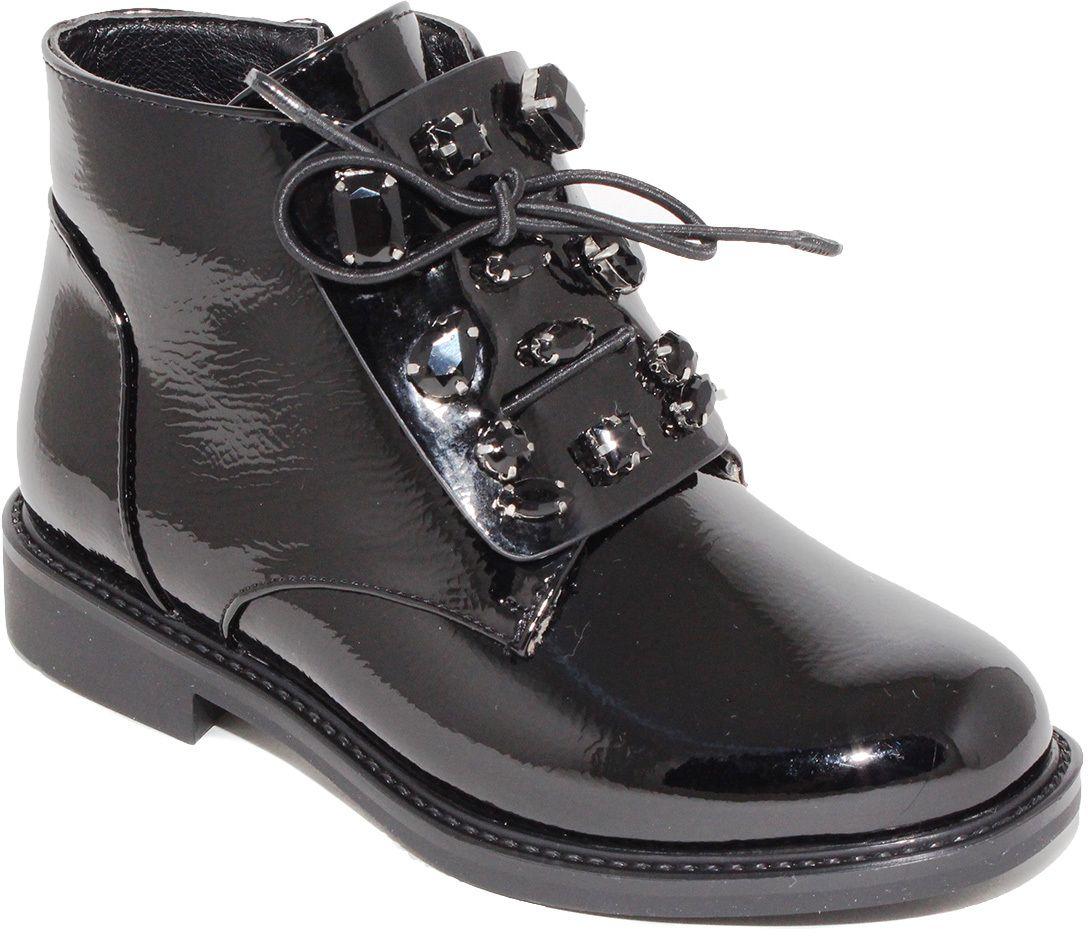 Ботинки для девочки Капитошка, цвет: черный. F7866. Размер 28F7866Потрясающие ботинки от Капитошка приведут в восторг вашу юную модницу! Модель выполнена из искусственной лакированной кожи. Подъем ботинок оформлен декоративными камнями в металлической оправе. Ботинки застегиваются на застежку-молнию, расположенную на боковой стороне. Подкладка и стелька из текстиля комфортны при ходьбе. Удобные и модные ботинки - необходимая вещь в гардеробе каждого ребенка.