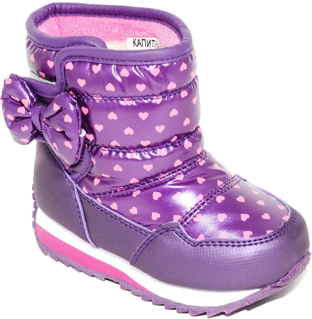 Дутики для девочки Капитошка, цвет: фиолетовый, розовый. F7552. Размер 26F7552Модные дутики для девочки от Капитошка придутся вашему ребенку по душе! Модель выполнена из искусственной кожи и оформлена принтом с изображением сердечек, сбоку - очаровательным бантиком. Застежка-липучка надежно зафиксирует обувь на ноге. Подкладка и стелька из натуральной шерсти не дадут ногам замерзнуть. Подошва дополнена рифлением для лучшего сцепления с различными поверхностями.