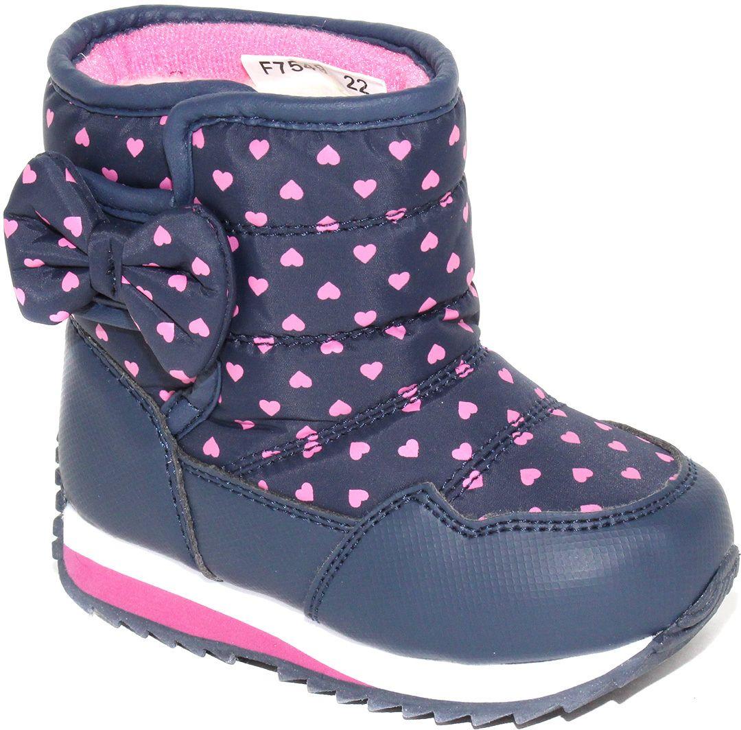 Дутики для девочки Капитошка, цвет: темно-синий, розовый. F7567. Размер 31F7549/F7567Модные дутики для девочки от Капитошка придутся вашему ребенку по душе! Модель выполнена из искусственной кожи и оформлена принтом с изображением сердечек, сбоку - очаровательным бантиком. Застежка-липучка надежно зафиксирует обувь на ноге. Подкладка и стелька из натуральной шерсти не дадут ногам замерзнуть. Подошва дополнена рифлением для лучшего сцепления с различными поверхностями.