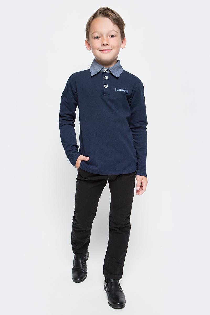 Джемпер для мальчика Luminoso, цвет: темно-синий, голубой. 727044. Размер 134727044Джемпер для мальчика Luminoso выполнен из хлопка с добавлением эластана. Модель имеет длинные рукава и отложной воротник с планкой на пуговицах.