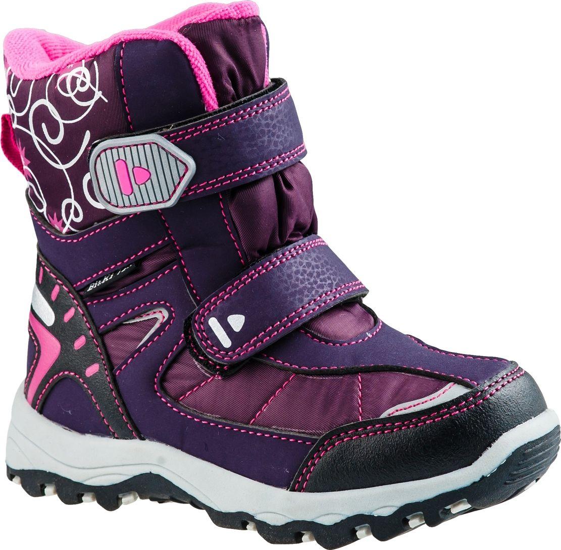 Ботинки для девочки BiKi, цвет: фиолетовый, розовый, белый. А-В20-36-G. Размер 31А-В20-36-GБотинки от BiKi придутся по душе вашей девочке. Модель идеально подходит для зимы, сохраняет комфортный микроклимат в обуви как при ношении на улице, так и в помещении. Верх обуви изготовлен из искусственной кожи со вставками из водонепроницаемого текстиля, оформленного принтом. Два ремешка на застежке-липучке надежно зафиксируют изделие на ноге. Подкладка и стелька изготовлены из искусственной шерсти, что позволяет сохранить тепло и гарантирует уют ногам. Подошва с рифлением обеспечивает идеальное сцепление с любыми поверхностями. Такие чудесные ботинки займут достойное место в гардеробе вашего ребенка.