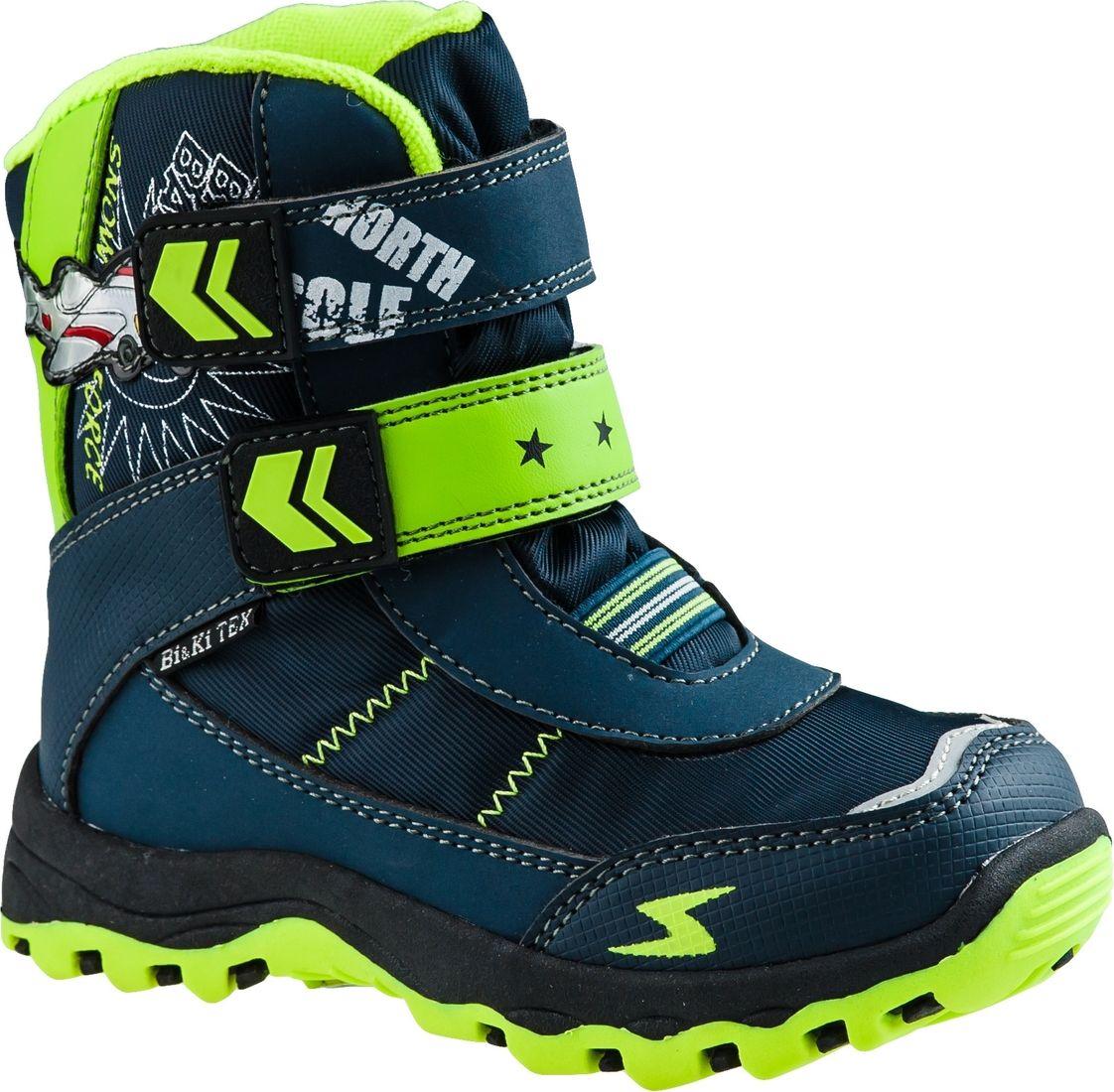 Ботинки для мальчика BiKi, цвет: синий, салатовый. А-В20-35-B. Размер 32А-В20-35-BБотинки от BiKi придутся по душе вашему мальчику. Модель идеально подходит для зимы, сохраняет комфортный микроклимат в обуви как при ношении на улице, так и в помещении. Верх обуви изготовлен из искусственной кожи со вставками из водонепроницаемого текстиля и оформлен контрастной прострочкой, и принтом. Два ремешка на застежке-липучке и эластичная резинка надежно зафиксируют изделие на ноге. Подкладка и стелька изготовлены из искусственной шерсти, что позволяет сохранить тепло и гарантирует уют ногам. Подошва с рифлением обеспечивает идеальное сцепление с любыми поверхностями. Такие чудесные ботинки займут достойное место в гардеробе вашего ребенка.