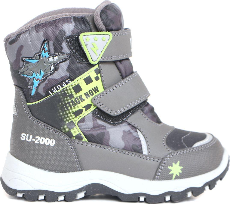 Ботинки для мальчика BiKi, цвет: серый. А-В20-38-A. Размер 32А-В20-38-AБотинки от BiKi придутся по душе вашему мальчику. Модель идеально подходит для зимы, сохраняет комфортный микроклимат в обуви как при ношении на улице, так и в помещении. Верх обуви изготовлен из искусственной кожи со вставками из водонепроницаемого текстиля и оформлен контрастной прострочкой, и принтом. Два ремешка на застежке-липучке надежно зафиксируют изделие на ноге. Верхний ремешок доолнен логотипом бренда. Подкладка и стелька изготовлены из искусственной шерсти, что позволяет сохранить тепло и гарантирует уют ногам. Подошва с рифлением обеспечивает идеальное сцепление с любыми поверхностями. Такие чудесные ботинки займут достойное место в гардеробе вашего ребенка.