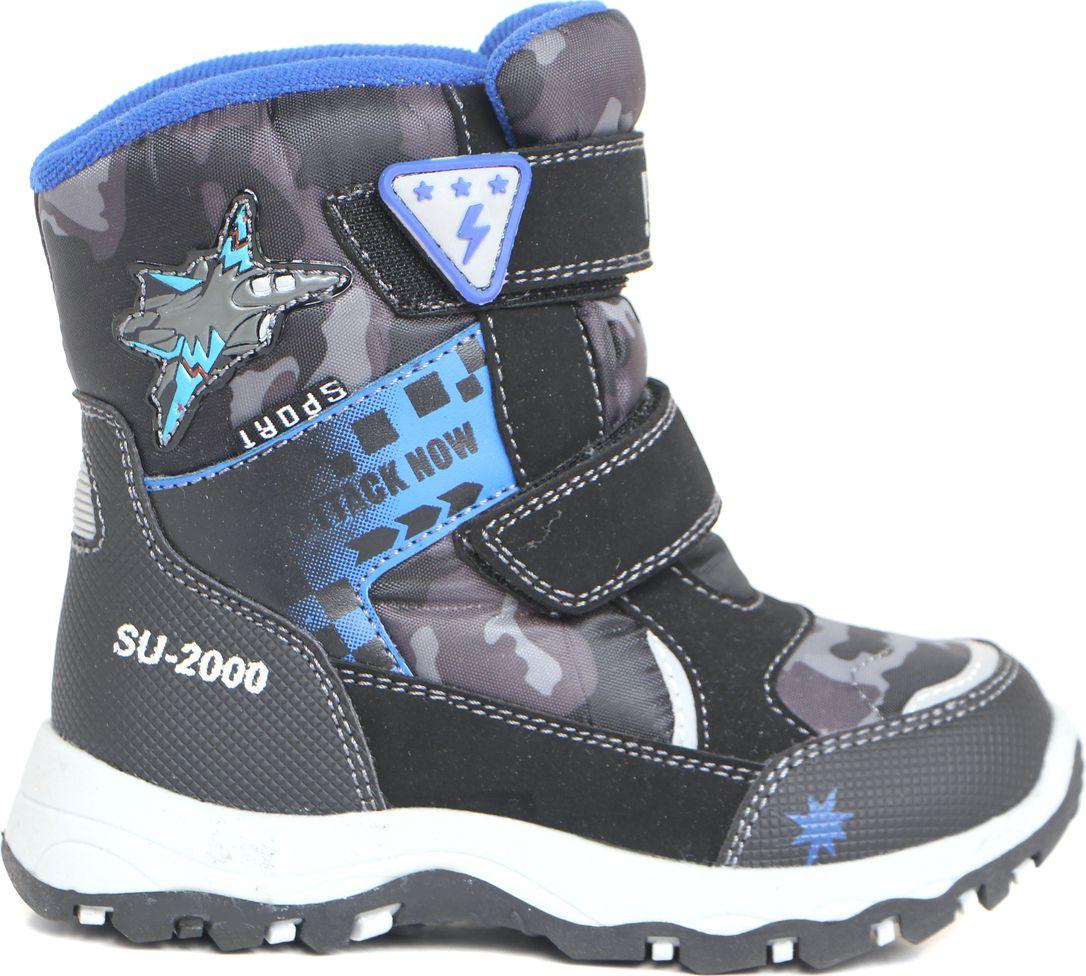 Ботинки для мальчика BiKi, цвет: черный, серый, голубой. A-B20-38-C. Размер 28A-B20-38-CБотинки от BiKi придутся по душе вашему мальчику. Модель идеально подходит для зимы, сохраняет комфортный микроклимат в обуви как при ношении на улице, так и в помещении. Верх обуви изготовлен из искусственной кожи со вставками из водонепроницаемого текстиля и оформлен контрастной прострочкой и принтом. Два ремешка на застежке-липучке надежно зафиксируют изделие на ноге. Верхний ремешок доолнен логотипом бренда. Подкладка и стелька изготовлены из искусственной шерсти, что позволяет сохранить тепло и гарантирует уют ногам. Подошва с рифлением обеспечивает идеальное сцепление с любыми поверхностями. Такие чудесные ботинки займут достойное место в гардеробе вашего ребенка.