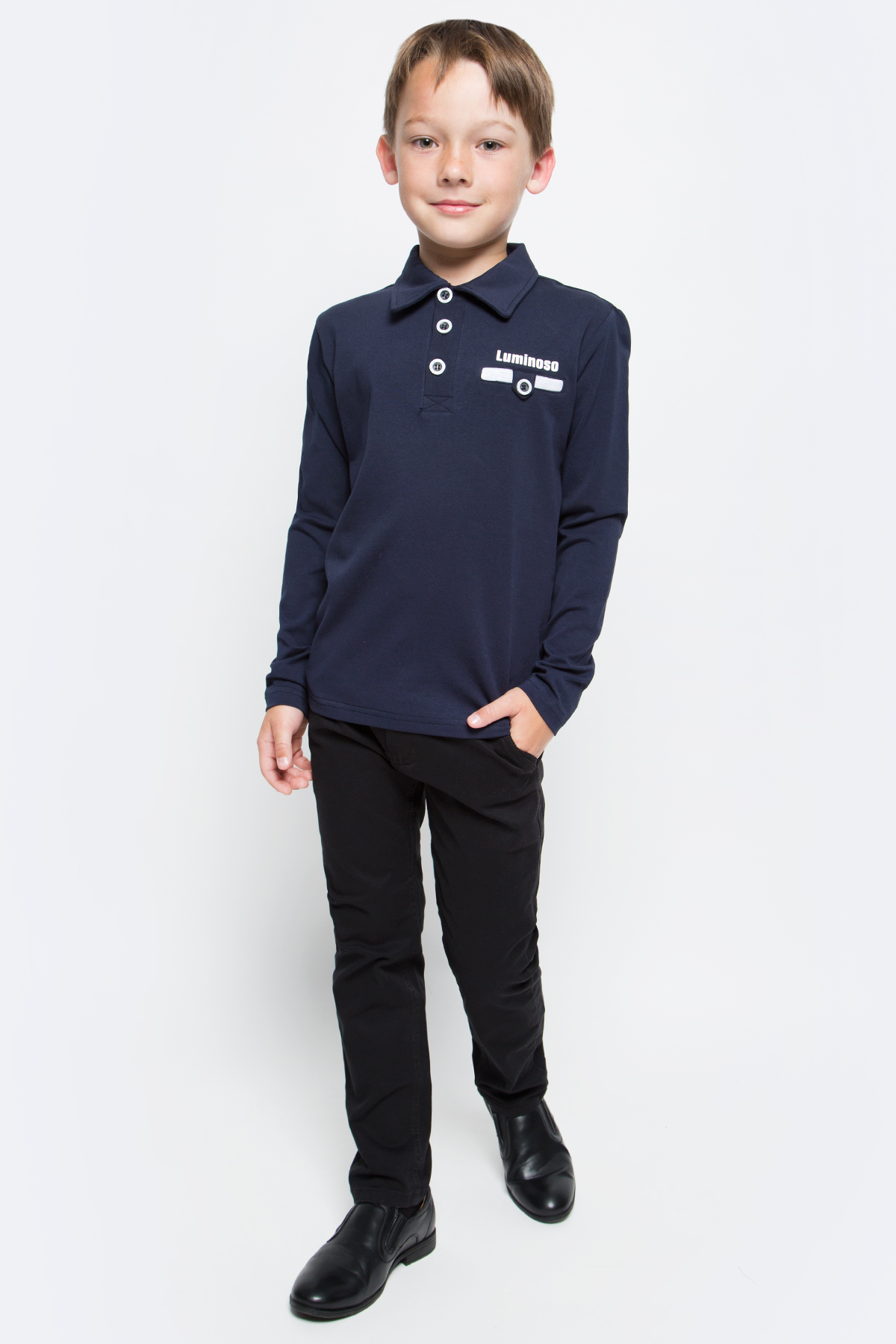 Джемпер для мальчика Luminoso, цвет: темно-синий, серый меланж. 727039. Размер 158727039Джемпер для мальчика Luminoso выполнен из хлопка с добавлением эластана. Модель имеет длинные рукава и отложной воротник с планкой на пуговицах. На груди джемпер имеет прорезной кармашек с хлястиком на пуговице.