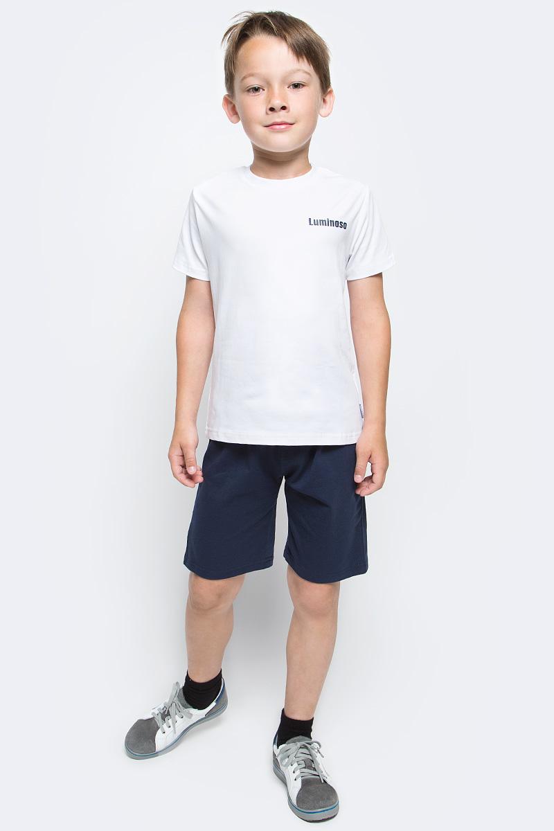 Шорты для мальчика Luminoso, цвет: темно-синий. 727088. Размер 152727088Шорты для мальчика Luminoso выполнены из хлопка с добавлением эластана. Модель имеет стандартную посадку и широкую эластичную резинку на талии со шнурком для регулировки посадки. Такие шорты отлично подойдут для занятий спортом и игр на открытом воздухе.