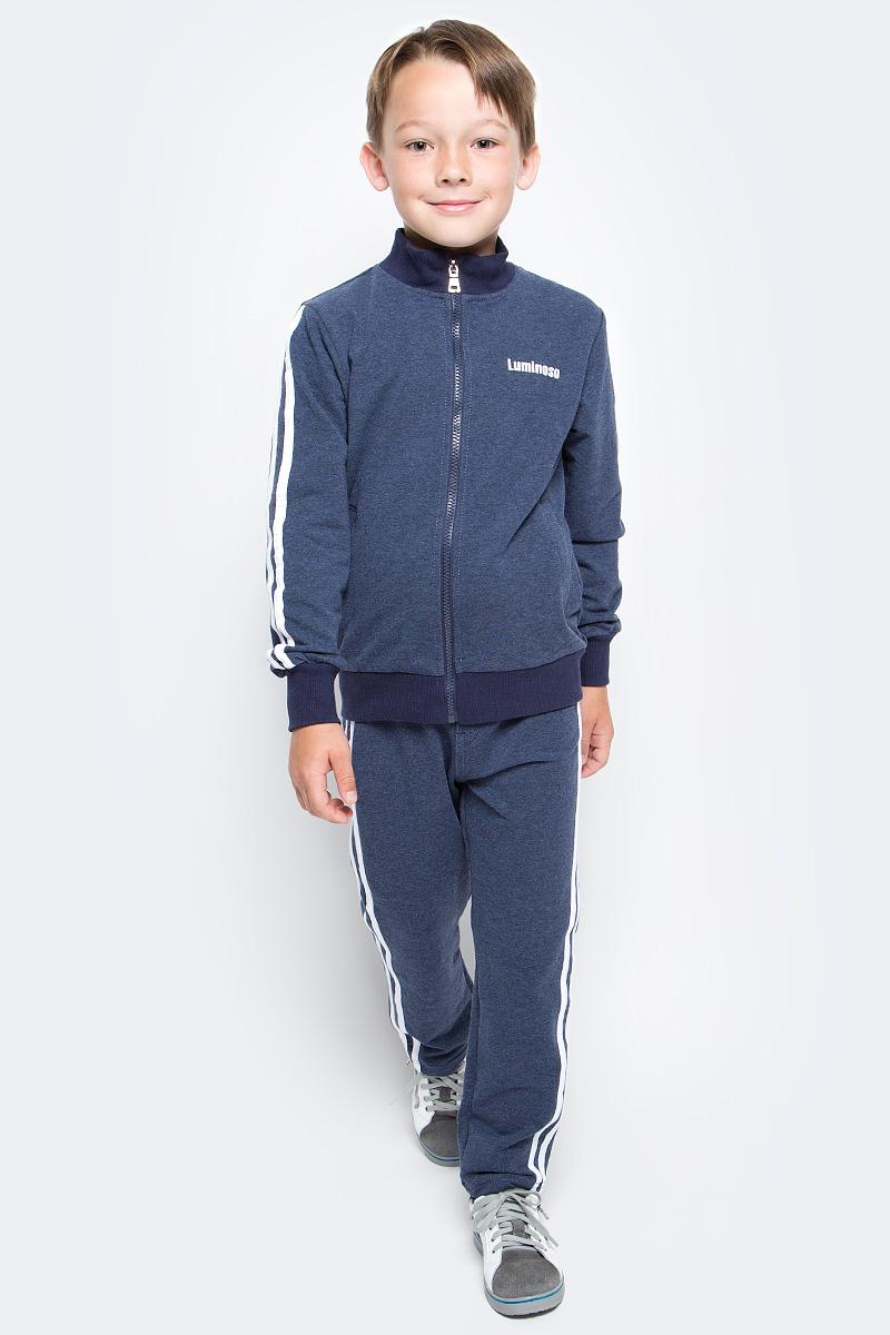 Спортивный костюм для мальчика Luminoso, цвет: темно-синий. 727080. Размер 134727080Спортивный костюм для мальчика Luminoso состоит из куртки и брюк. Изделия выполнены из эластичного хлопка. Куртка имеет длинные рукава, воротник-стойку и застежку на молнию. Спереди расположены два втачных кармана. Брюки имеют широкую резинку на талии и шнурок для регулировки посадки. Манжеты рукавов, воротник и низ куртки отделаны эластичной резинкой. Модель дополнена лампасами.
