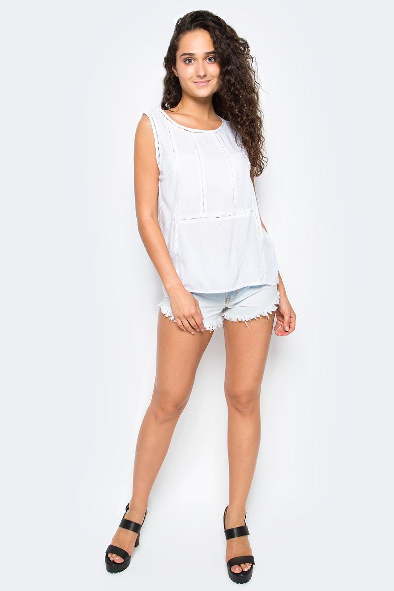 Блузка женская Top Secret, цвет: белый. SBW0346BI. Размер 38 (46)SBW0346BIЖенская блузка Top Secret выполнена из натуральной вискозы. Модель без рукавов и с круглым вырезом горловины.