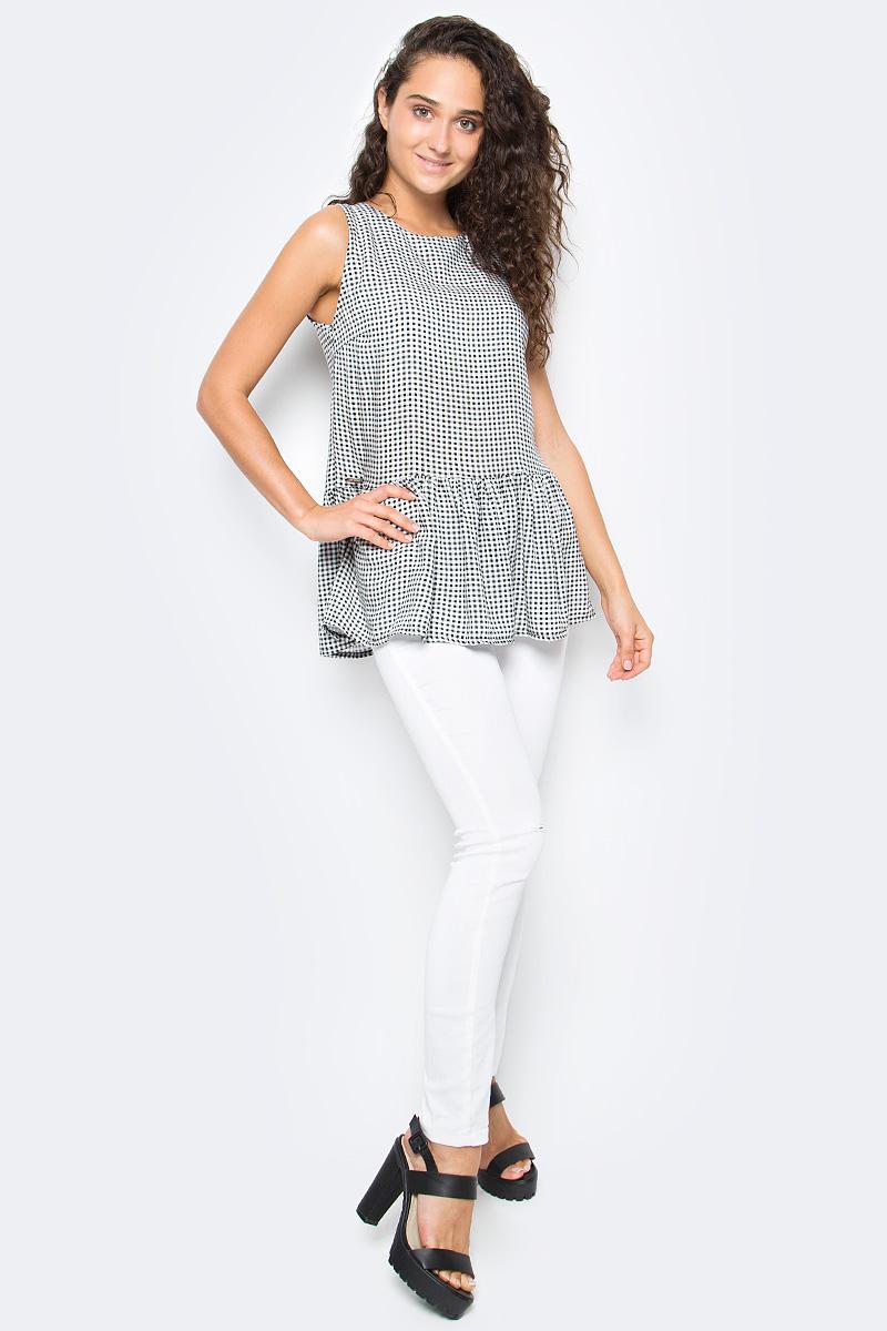 Блузка женская Top Secret, цвет: черный, белый. SBW0363CA. Размер 40 (48)SBW0363CAЖенская блузка Top Secret выполнена из натурального хлопка. Модель без рукавов и с круглым вырезом горловины по низу оформлена баской, на спине дополнена завязками.
