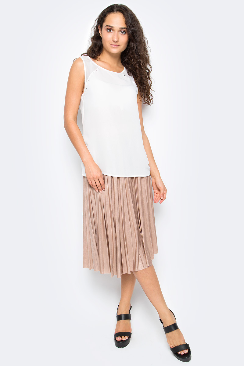 Блузка женская Top Secret, цвет: белый. SBW0353BI. Размер 38 (46)SBW0353BIЖенская блузка Top Secret выполнена из высококачественного материала. Модель без рукавов и с круглым вырезом горловины на спине застегивается на пуговицу.