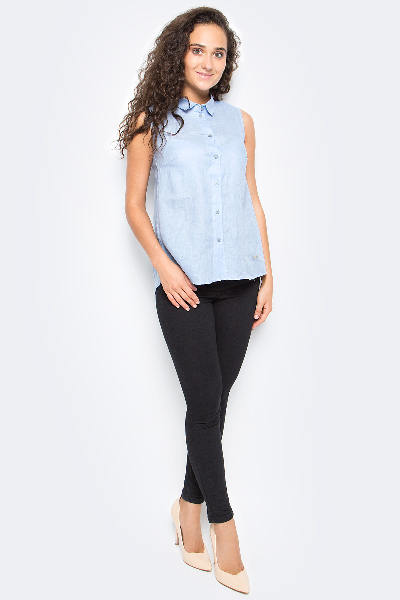 Рубашка женская Top Secret, цвет: голубой. SKE0036BL. Размер 42 (50)SKE0036BLЖенская рубашка Top Secret выполнена из натурального льна. Модель без рукавов и отложным воротником застегивается на пуговицы.