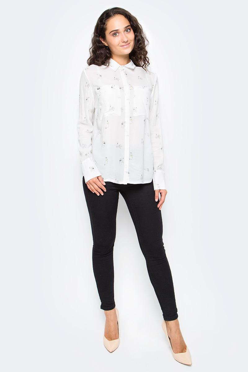 Рубашка женская Top Secret, цвет: белый. SKL2355BI. Размер 40 (48)SKL2355BIЖенская рубашка Top Secret выполнена из натуральной вискозы. Модель с длинными рукавами и отложным воротником застегивается на пуговицы, на груди дополнена накладными карманами.