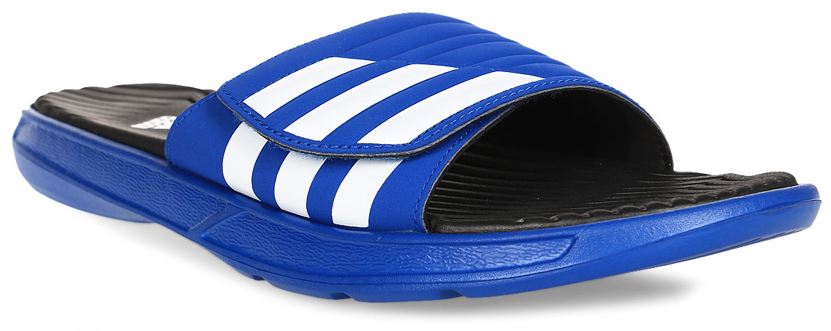 Шлепанцы муж Adidas Izamo Cf, цвет: синий, белый. S77988. Размер 11 (44,5)S77988подошва из ЭВА для мягкой амортизации, текстильная подкладка