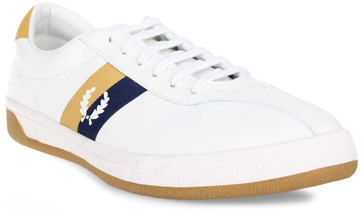 Кеды муж Fred Perry B1 Authentic Tennis Leather, цвет: белый. B103-C22. Размер 9,5 (43)B103-C22