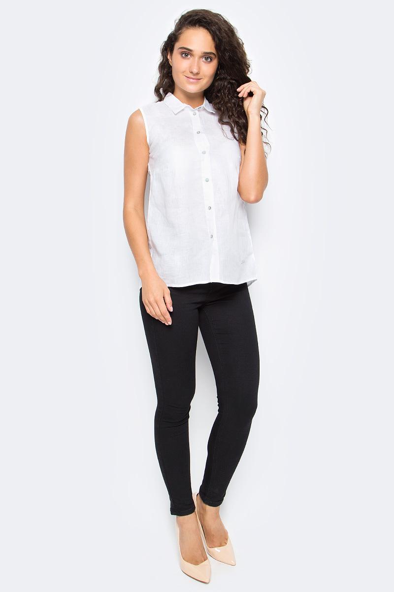 Рубашка женская Top Secret, цвет: белый. SKE0035BI. Размер 36 (44)SKE0035BIЖенская рубашка Top Secret выполнена из натурального льна. Модель без рукавов и отложным воротником застегивается на пуговицы.