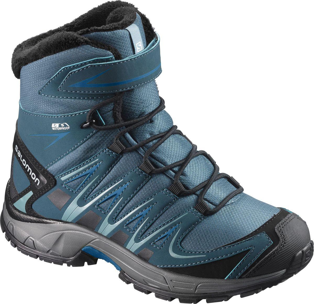 Ботинки детские Salomon XA PRO 3D Winter TS CSWP J, цвет: бирюзовый. L39845800. Размер 37 (35)L39845800Полностью непромокаемые и утепленные уютным мехом ботинки XA PRO 3D Winter TS CSWP для подростков имеют легендарную посадку Salomon и сцепление и подходят для любой активности в холодную мокрую погоду.