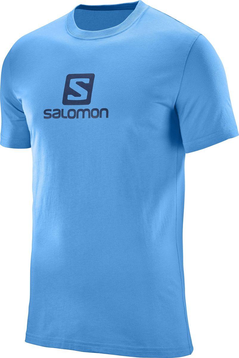 Футболка мужская Salomon Cotton Logo SS Tee, цвет: голубой. L39762800. Размер L (52/54)L39762800Футболка COTTON LOGO SS TEE с модным принтом. Разнообразная цветовая гамма. Удобная одежда свободного покроя для отдыха.