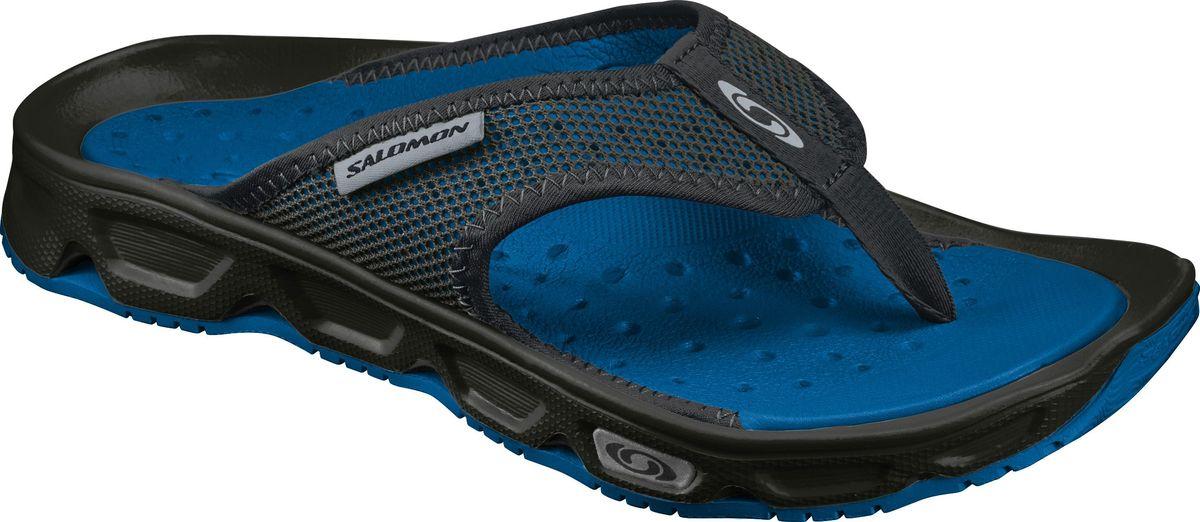 Сандалии мужские Salomon RX BREAK, цвет: черный. L39470100. Размер 12,5 (46,5)L39470100Удобная модель RX BREAK — нечто среднее между гоночным автомобилем и мягкими шлепанцами. Промежуточная подошва обеспечивает великолепную амортизацию, а не натирающий сетчатый верх дарит ногам комфорт после пробежки или для расслабления во время ходьбы.