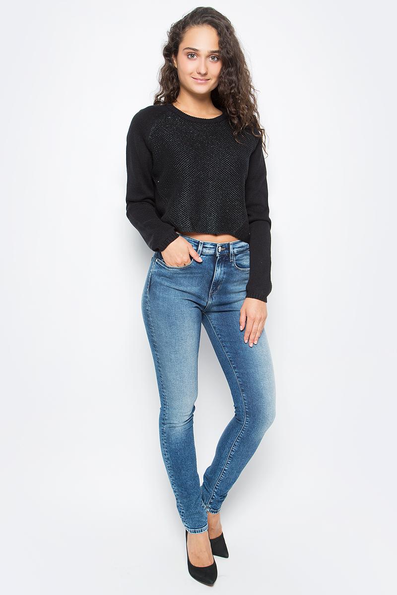 Джемпер женский Calvin Klein Jeans, цвет: черный. J20J205360_0990. Размер S (42/44)J20J205360_0990Удобный женский джемпер Calvin Klein изготовлен из натурального хлопка. Модель с круглым вырезом горловины и длинными рукавами - реглан дополнена эластичными резинками.