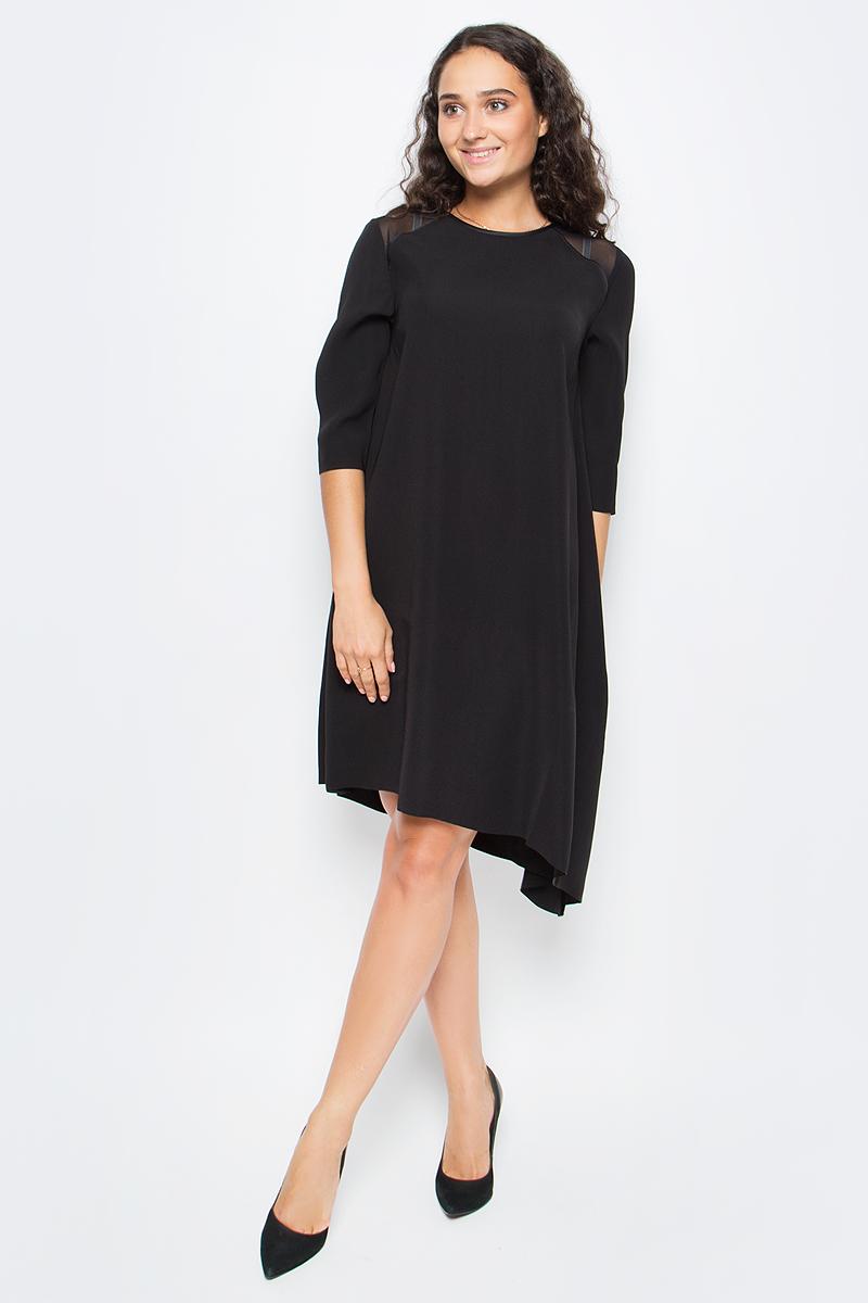 Платье женское Calvin Klein Jeans, цвет: черный. J20J206267_0990. Размер XS (40/42)J20J206267_0990Стильное платье Calvin Klein выполнено из полиэстера. Модель свободного кроя с короткими рукавами и круглым вырезом горловины, дополнена на спине застежкой - молнией.